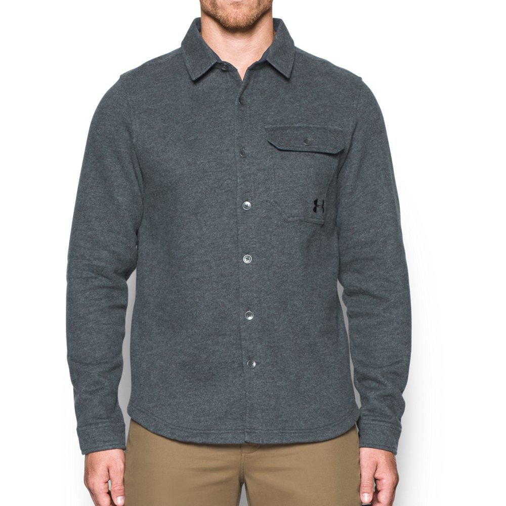 Under Armour Mens Fleece Button-Down Shirt,Stealth Gray (008)/Black, Small by Under Armour