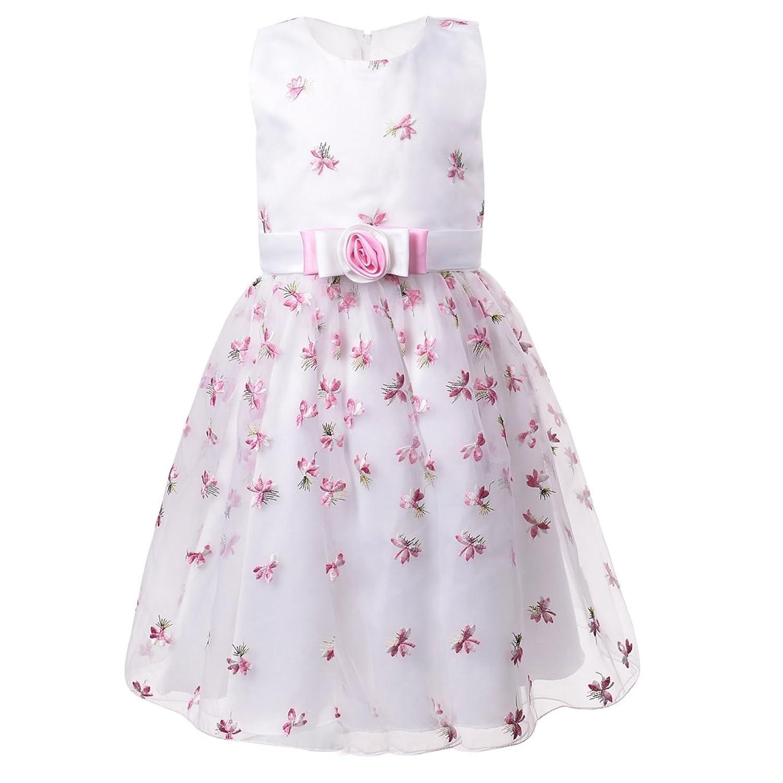 36761dac04326 OKIDSO Robe de Mariée en Organza Jupe Brodée sans Manches Princesse Robes  de Fille à Fleurs avec Bowknots