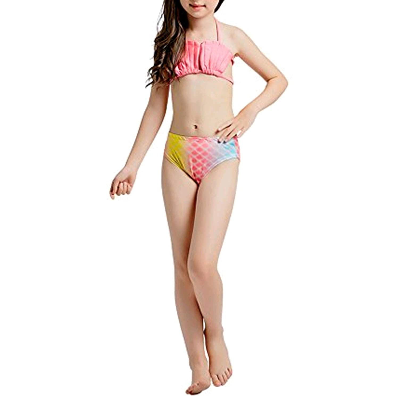 Pettigirl Trajes de Baño Niñas 3pcs Sirena Cola Conjuntos Sea Maiden Trajes de Baño Bikini 4-7 Años G-CMTR000-C1-ES