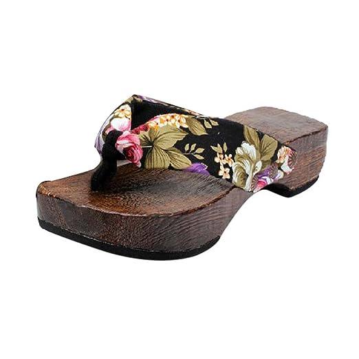 b79b19e0bba Summer Spring Platform Shoes Wood Sandals Flip Flop Flat Clog Wooden  Slippers for Women (Black