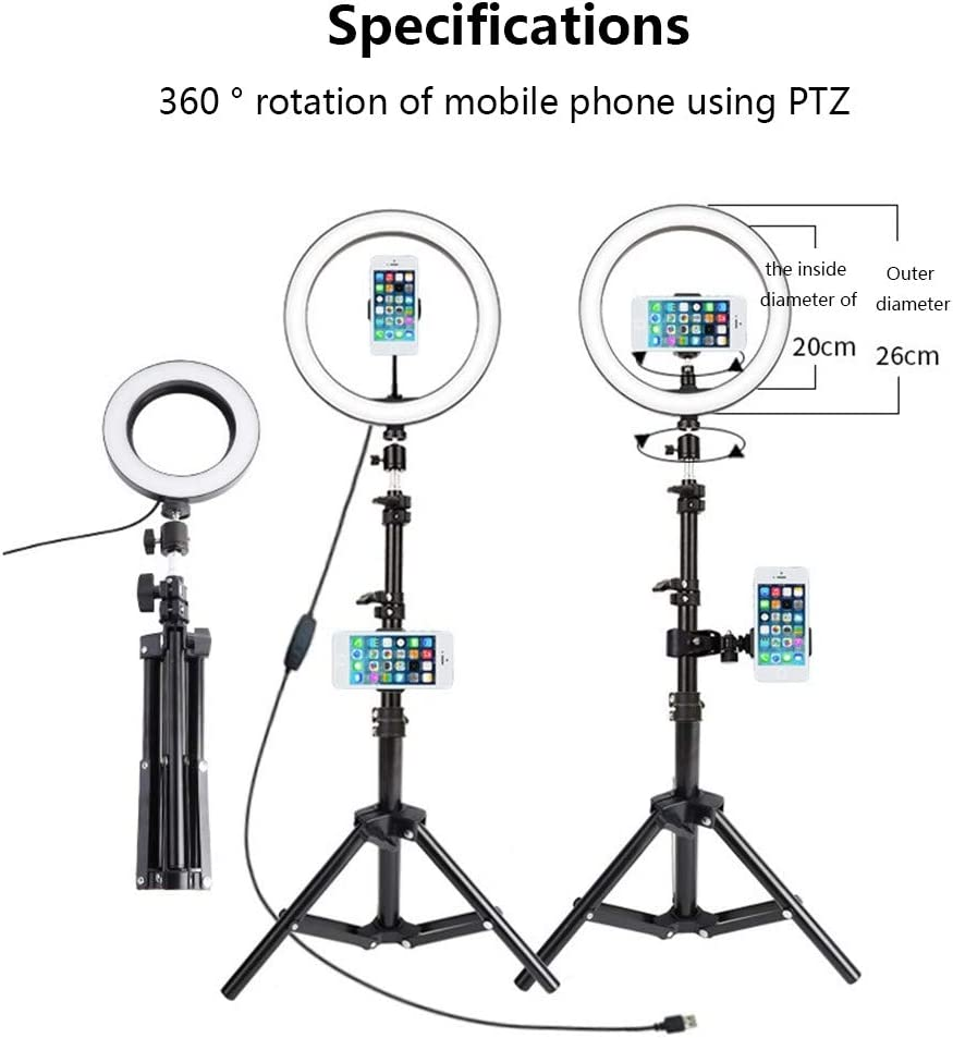 Tri-Color Light Adjustable Selfie Beauty Light Live Fill Light Retractable and Easy to Store,A 10-Inch LED Ring Light Tripod Kit