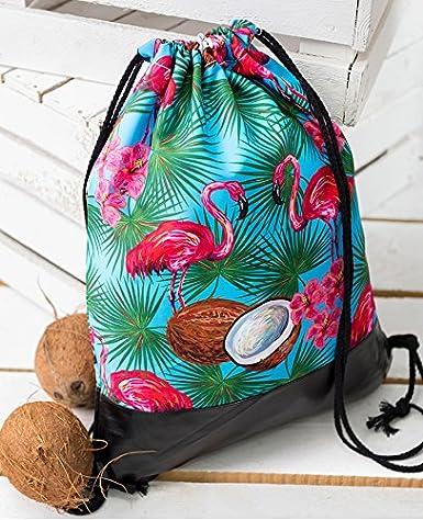 Amazon.com | Coconut Flamingo Tropical Leather Bottom Backpack Mochila Feminina Escolar Bolsa Drawstring Bags Bagpacks School Bags | Drawstring Bags