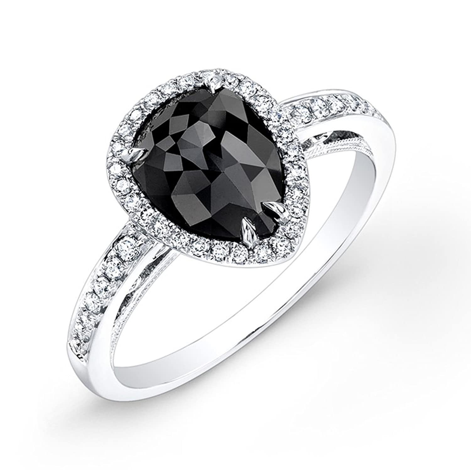 1 35ct pear shape black diamond engagement ring