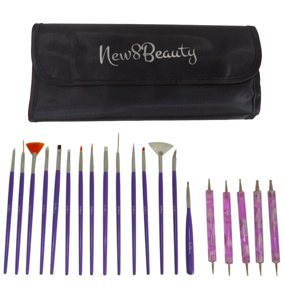 Nail Art Brushes, Dotting Pens Marbling Detailing Painting Striping Tools 20pc Kit Set with Roll-Up Pouch - Best for nail art and facial detailed painting - FREE eBook with Design Idea NewEights