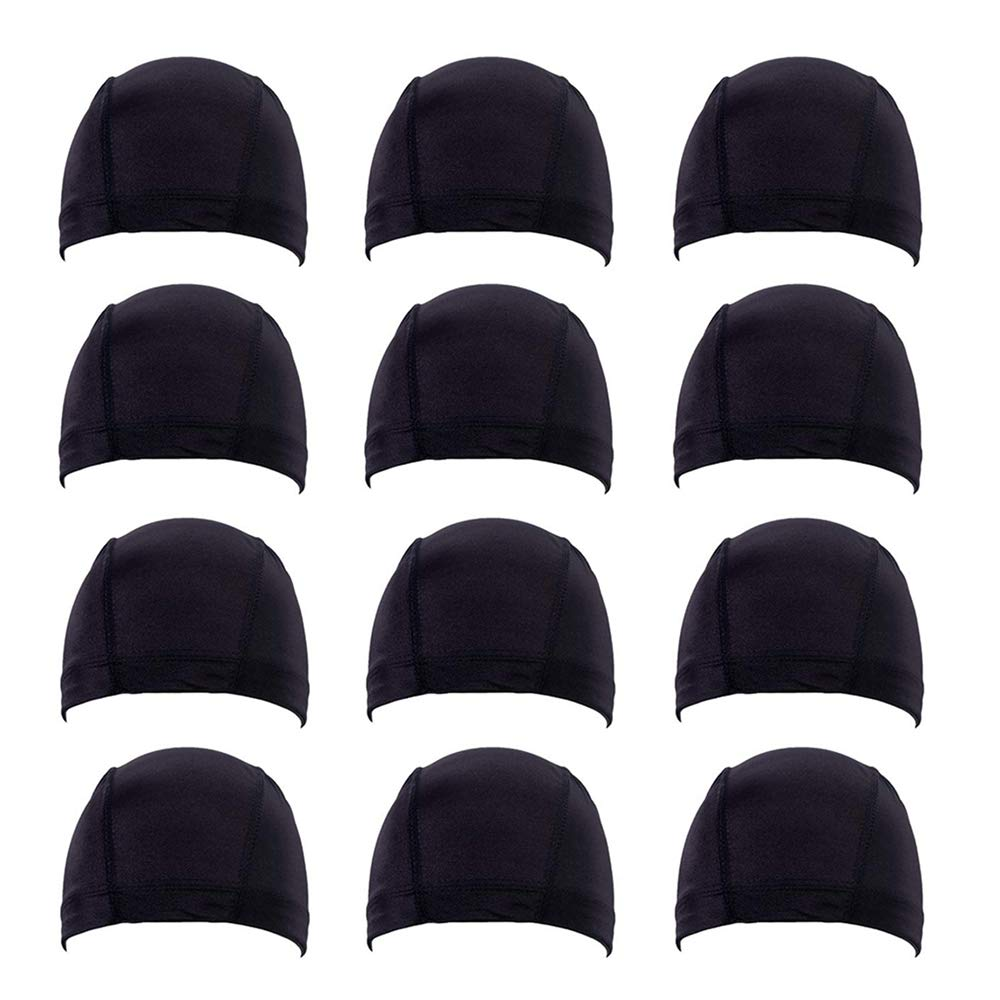 Fani 12 Pack Spandex Dome Weaving Cap Expandable Spandex Dome Cap for Wigs Stretchable Hairnet Breathable Black Wig Cap for Black Headwear for Women by fani
