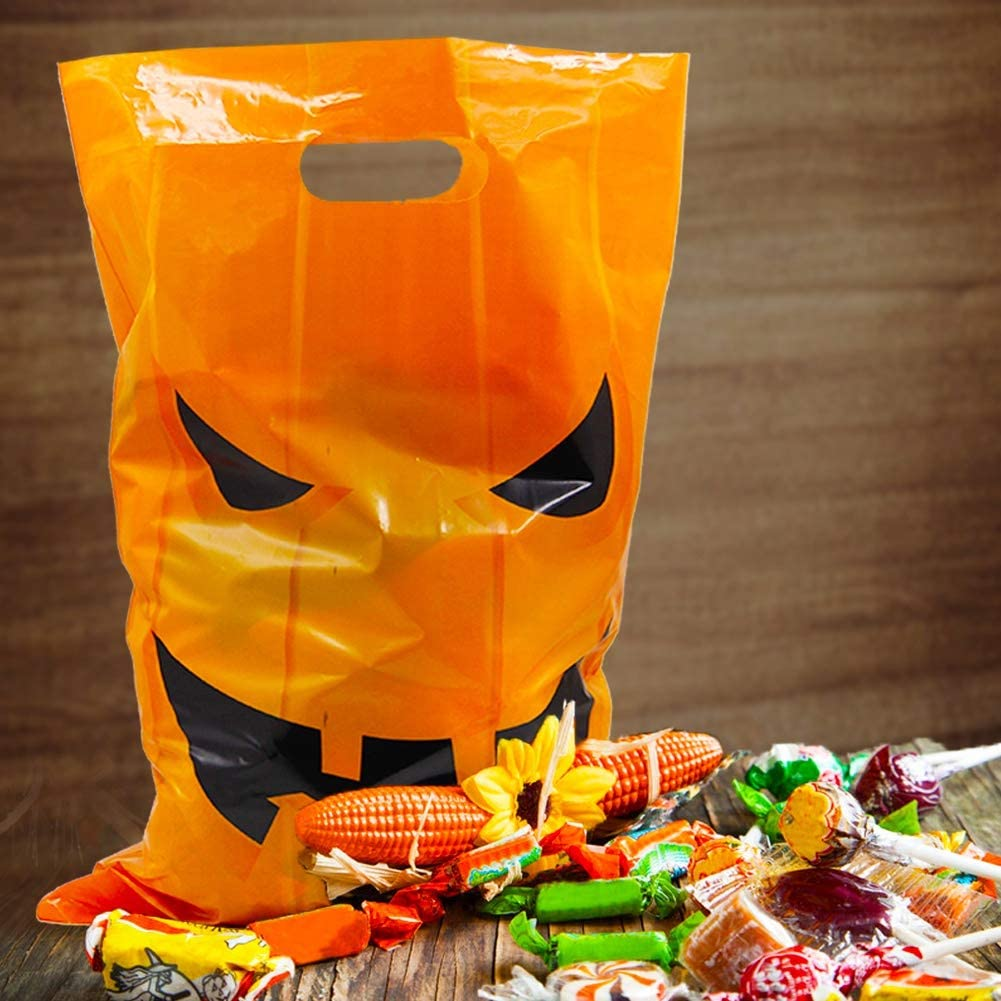 Lulu Home Halloween Candy Bags Jack O Lantern Goody Bags for Trick or Treat Halloween Party Favor Tote Bags 72PCS