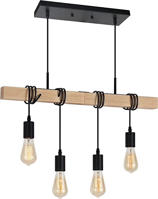 4-Light Pendant Ceiling Fixture, Adjustable Hanging Pendant Lights with Solid Wood, Vintage Chandelier for Kitchen Island Dining Room Farmhouse Entryway Foyer Table Hallway