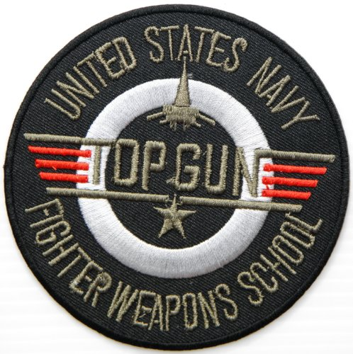 [TOP GUN UNITED STATES NAVY FIGHTER WEAPONS SCHOOL US USAF Army Military Pilot Logo Tab Jacket Uniform Patch Sew Iron on Embroidered Sign Badge] (Top Gun Costume Patches)