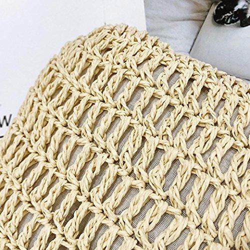 De Femmes Paille Crossbody Weave Khaki En Vintage Bandoulière Cuir Messenger À Sacs Hunpta Bag IwdqI