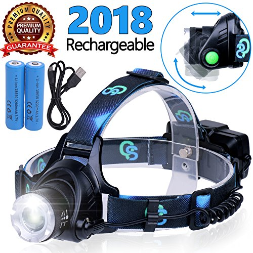 Rechargeable Headlamp, Hard Hat Light - Head Lamps for Adults, Headlamps for Camping, LED Headlamp Flashlight, Head Flashlight, Lamparas Recargables.