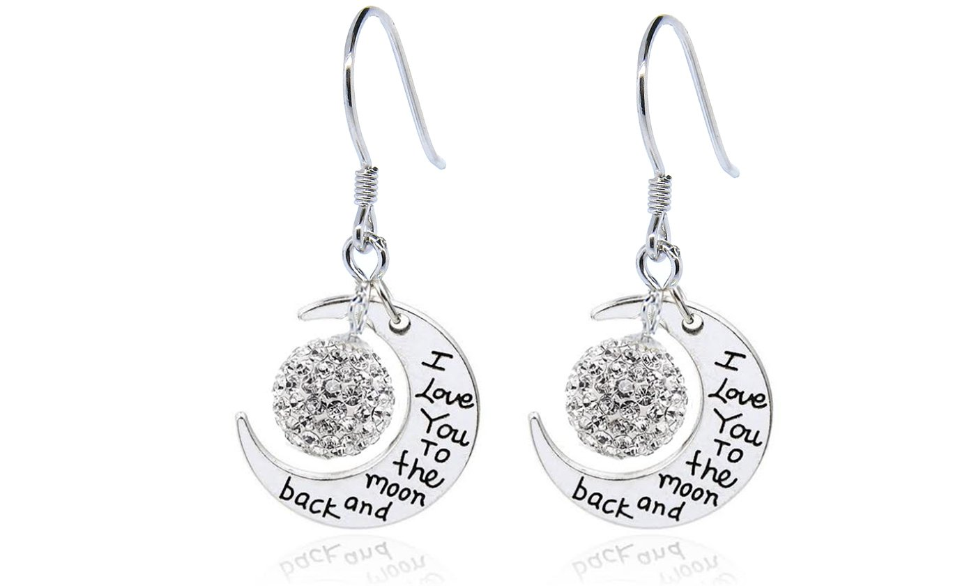 NYC Sterling Women Engraved To The Moon and Back Drop Earrings