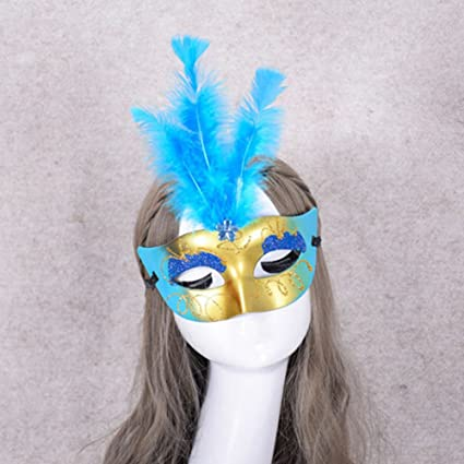 9c6fcec26236 Image Unavailable. Image not available for. Color: Braceus LED Eye Mask,  Women Kids Halloween Masquerade Flower Feather Lace Up Mask for Party