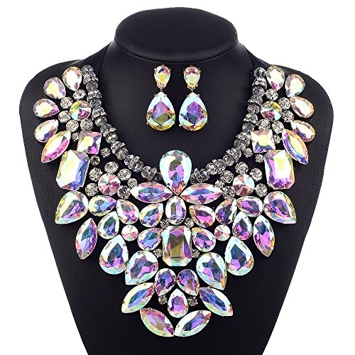 (3 Colors Costume Statement Necklace for Women Jewelry Fashion Necklace 1 Set with Gift Box)
