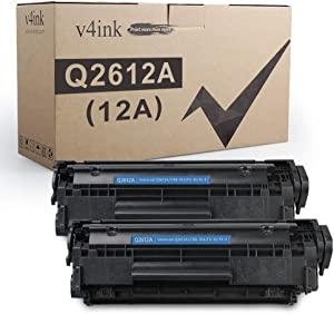 V4INK 2PK Compatible Toner Cartridge Replacement for HP 12A Q2612A Toner for HP LaserJet 1010 1012 1018 1020 1022 1022N 3015 M1005 M1319F Canon D420 D450 D480 MF 4150 4350D 4370DN Printer