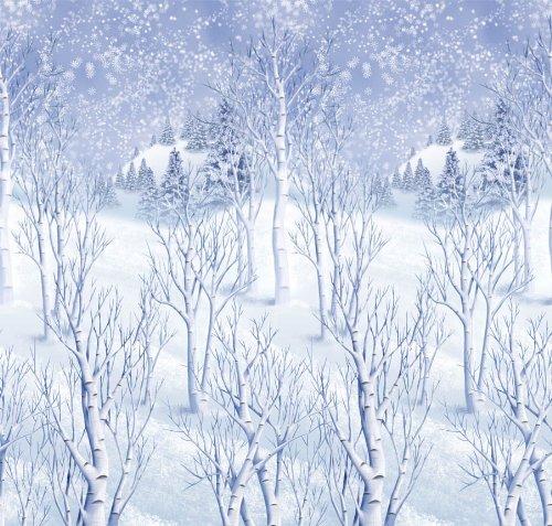 Winter Wonderland Scene Setters Plastic Room Rolls Wall Decoration, 1 Rolls, 4 x 40 (Winter Wonderland Party Costume)