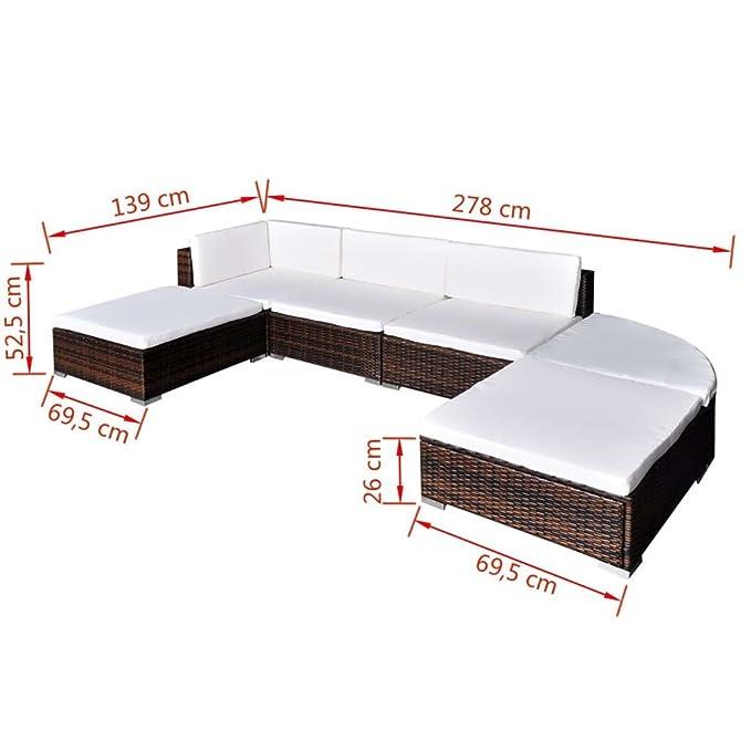 vidaXL Conjunto de Muebles de Jardín 16 Piezas Ratán Sintético Marrón y Blanco
