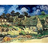 high quality polyster Canvas ,the Replica Art DecorativeCanvas Prints of oil painting 'Thatched Cottages At Cordeville-Vincent Van Gogh,1890', 24x30 inch / 61x77 cm is best for Wall art gallery art and Home artwork and Gifts
