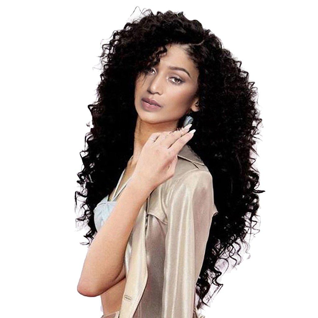 MagiDeal Peluca Larga Rizada Natural de Cabello Sintética de Moda Estilo Afro para Mujeres Negro
