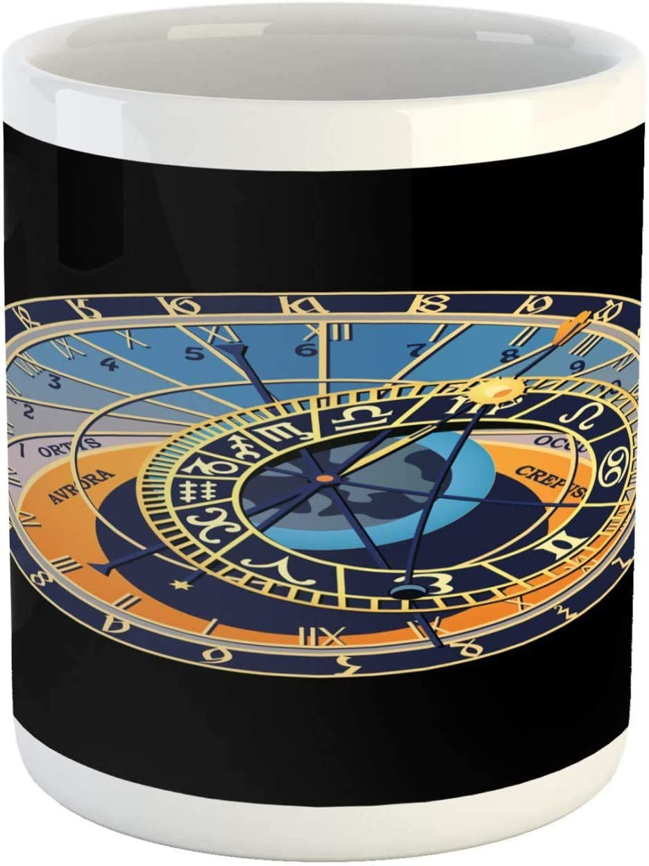 Occult Mug Astronomical Clock Prague Orloj Czech Republic Gothic Heritage Ceramic Coffee Mug Cup For Water Tea Drinks 11 Oz Charcoal Grey And Multicolor Amazon Co Uk Kitchen Home