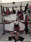 15 Piece Red Black and White Sugar Glider Cage Set