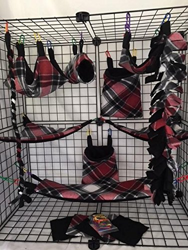 The Kozy Kritter 15 Piece Red Black and White Sugar Glider Cage - Sugar Glider Fleece Blanket