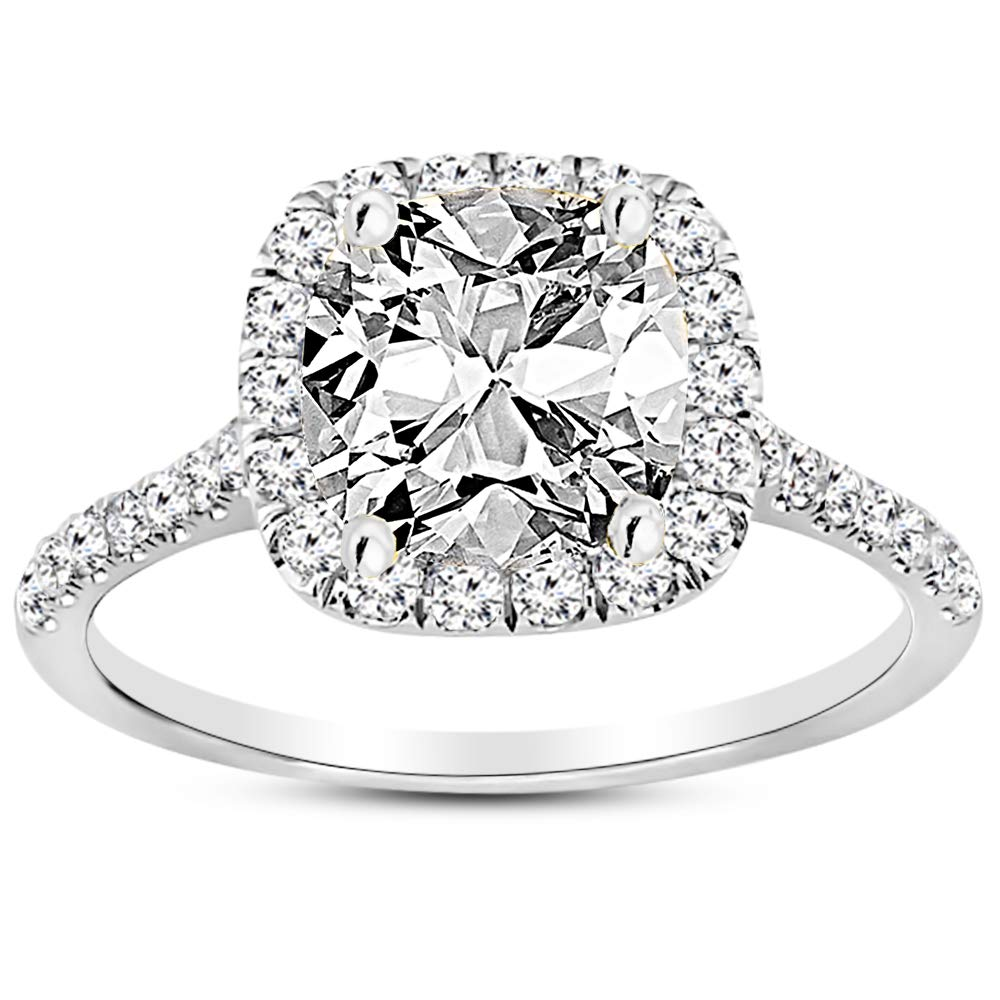 1.25 Ctw 14K White Gold Halo GIA Certified Diamond Engagement Ring Cushion Cut (0.75 Ct F Color VS2 Clarity Center Stone)