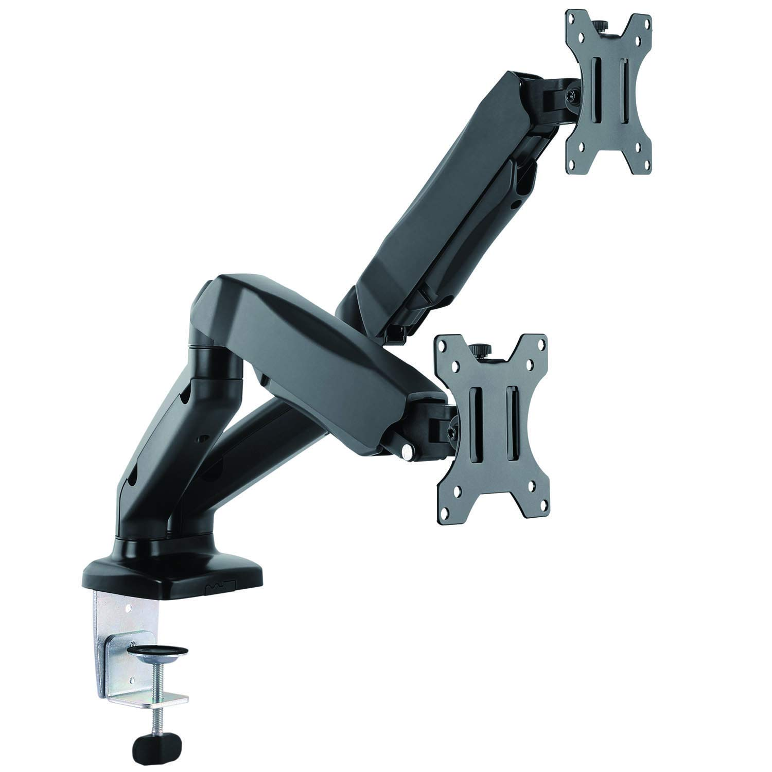 """WALI Universal Dual LCD Monitor Fully Adjustable Gas Spring Desk Mount Fit Two Screens VESA up to 27"""", 15.4 lbs. Weight Capacity per Arm (GSM002), Black"""