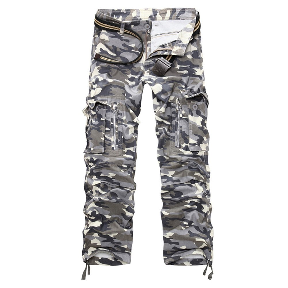 Oushiny Mens Loose Fit Multi Pocket Camouflage Cargo Pants 7 colors 10 sizes