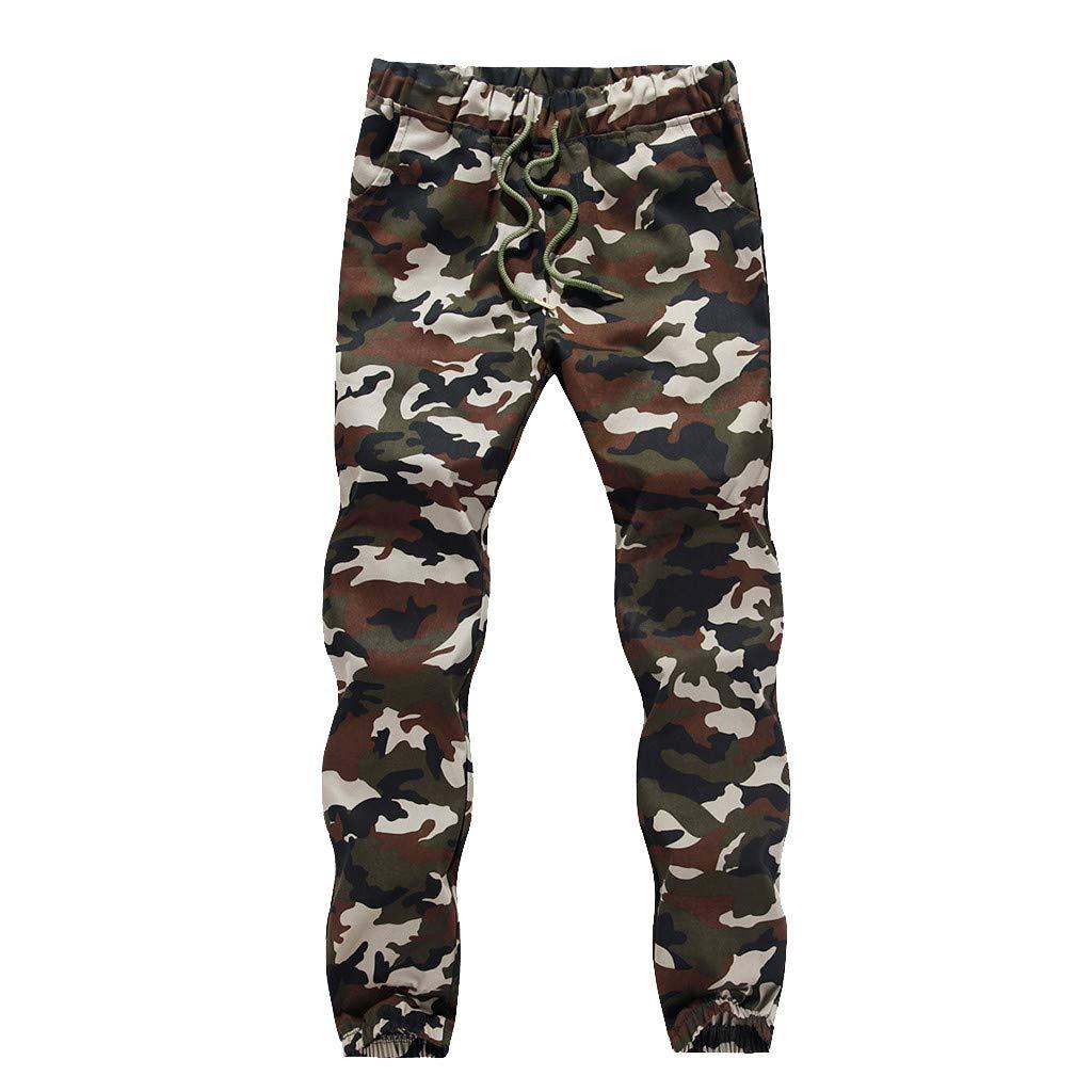 Mens Plus Size Camouflage Long Pants,Men Comfort Elastic Waist Pockets Pencil Pants Casual Fashion Trousers