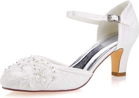 Emily Bridal Womens Lace Satin Stiletto Heel Peep Toe Sandals