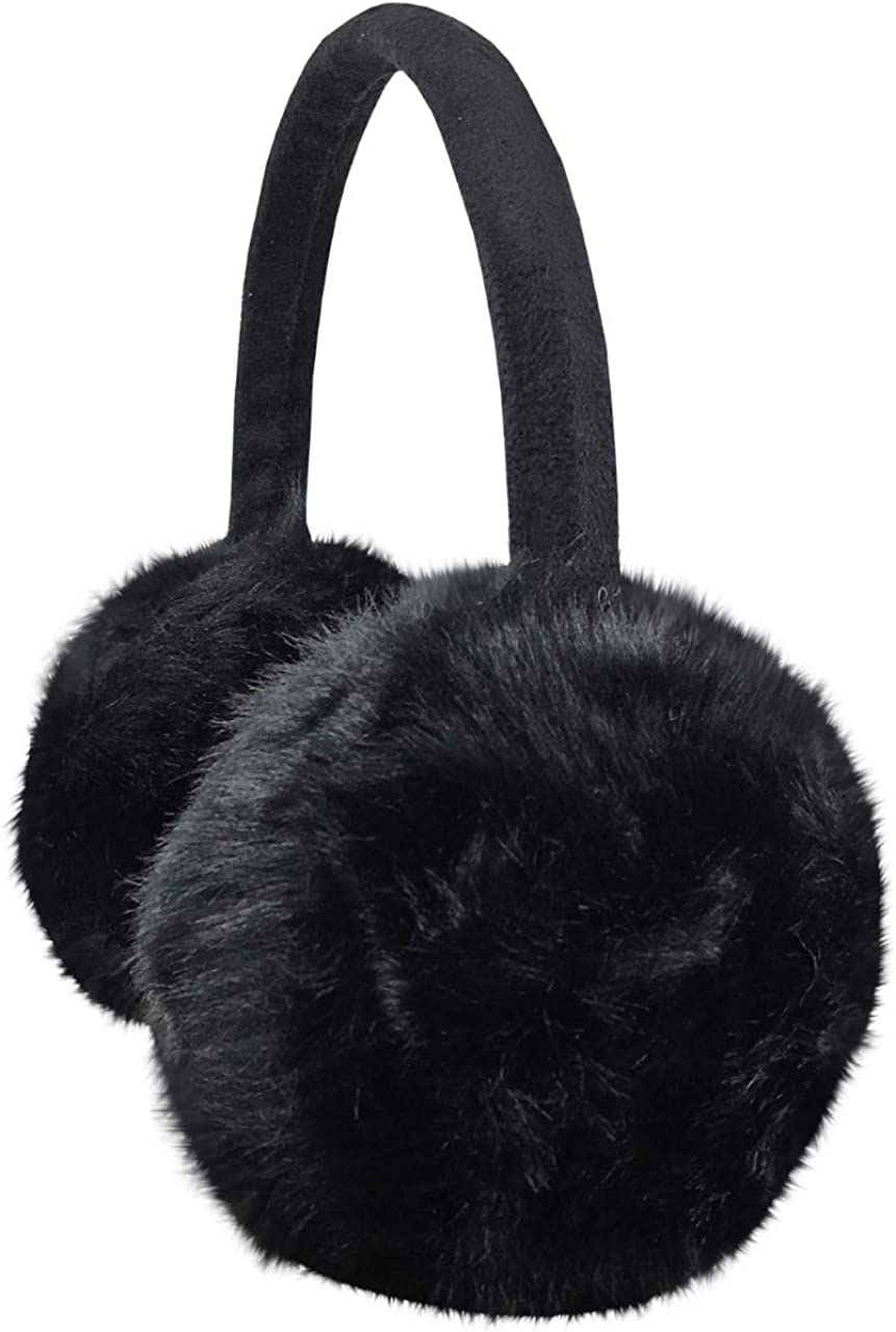 NIce Caps Girls Faux Fur Ear Muff With Knitted Heart Design