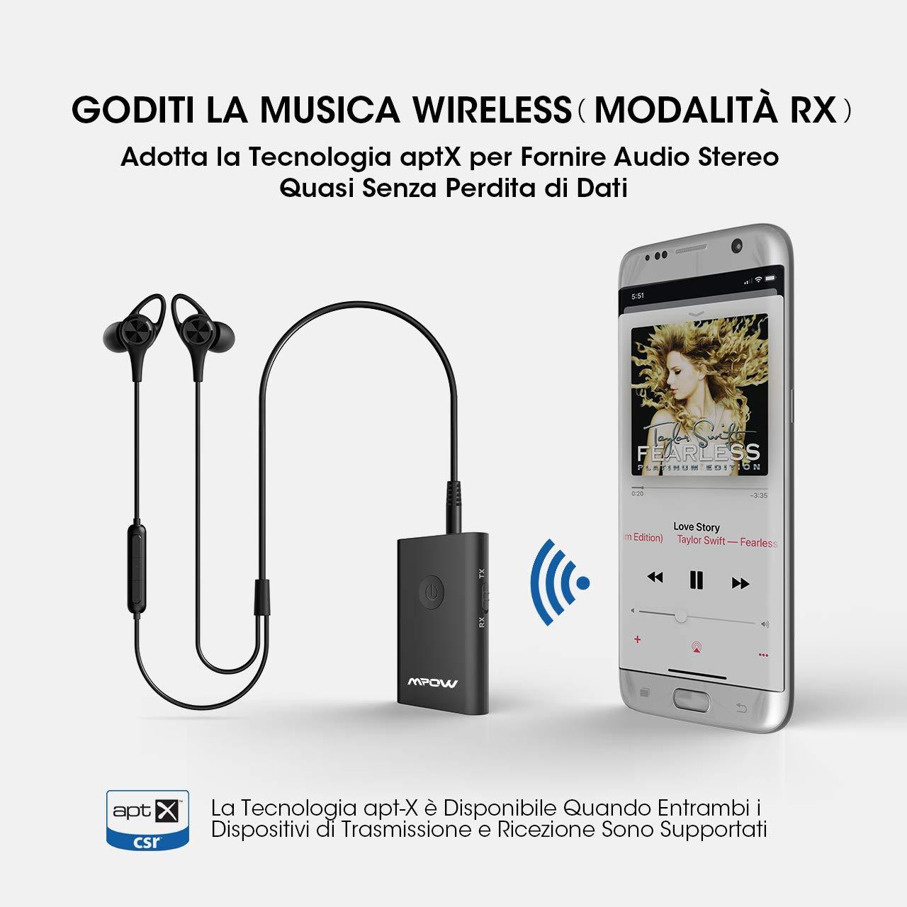 PC TM TV Sistema Stereo Altoparlanti Trasmissione Audio per Cuffie aptX Auto Wireless 3.5mm Aux Bluetooth A2DP AVRCP Connessione Multipunto Mpow Trasmettitore e Ricevitore Bluetooth 2-in-1