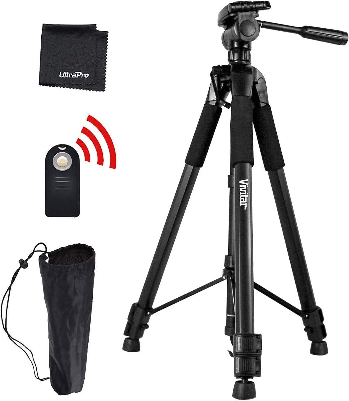 """UltraPro 72"""" Inch Black Heavy Duty Aluminum Camera Tripod + Wireless Remote Bundle for Canon Digital Cameras, Includes UltraPro Bonus Microfiber Cleaning Cloth"""