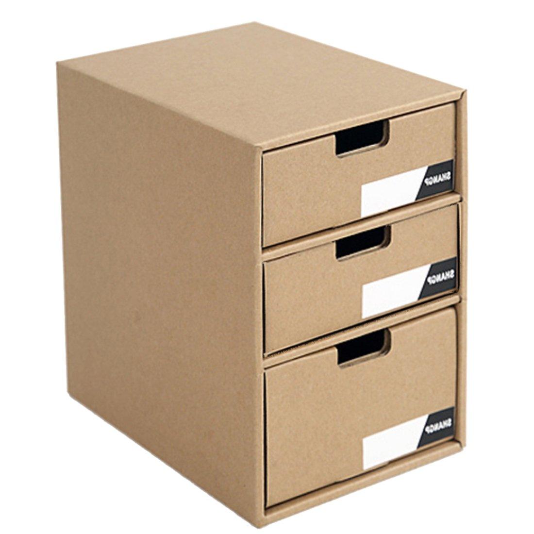 iTECHOR Paper Drawer Type Storage Box Office Study Desktop Books Documents Organizer Box