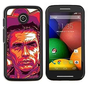 For Motorola Motorola Moto E / XT1021 / XT1022 Case , Cowboy Violet Yellow Man Far West - Diseño Patrón Teléfono Caso Cubierta Case Bumper Duro Protección Case Cover Funda