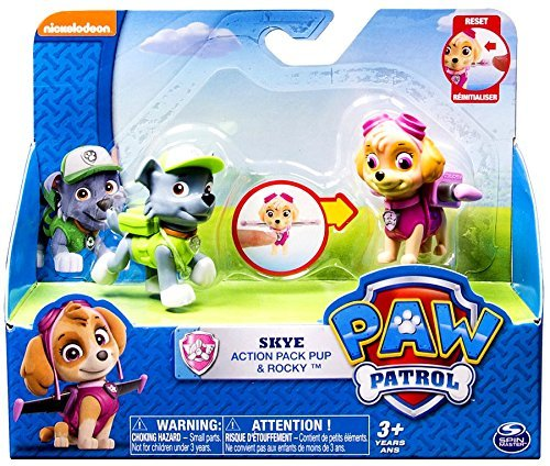 Paw Patrol Action Pack Pup Skye /& Rocky Figure Set Spin Master