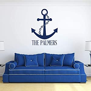 Custom Name Anchor and Chain Wall Decal Vinyl Sticker | Personalized Nautical Ship Symbol Decoration for Living Room, Bedroom | Black, White, Blue, Red, Brown, Other Colors | Small, Large Sizes
