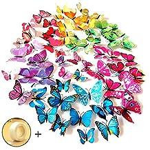 JPSOR 72PCS 3d Butterfly Wall Stickers 3d Butterfly Wall Decals Butterfly Magnets ,12pcs Blue 12pcs Purple 12pcs Green 12pcs Yellow 12pcs Pink 12pcs Red, Durable Plastic Butterfly Decorations, wall Decor