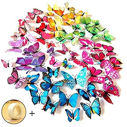 JPSOR 72PCS 3d Butterfly Wall Stickers 3d Butterfly Wall Decals Butterfly  Magnets ,12pcs Blue 12pcs