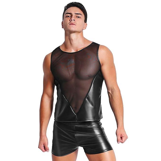 Xinbeauty Ropa Interior para Hombre Sexy Establece PVC Mangas de Malla de Cuero Tank Tops Boxer Breve Wetlook Ropa de Dormir: Amazon.es: Ropa y accesorios