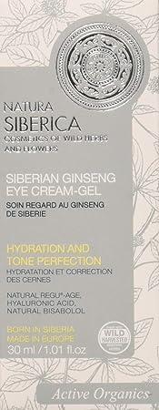 Natura Siberica Crema Gel para el Contorno de Ojos Ginseng Siberiano Hidratante y Anti Ojeras - 30 ml