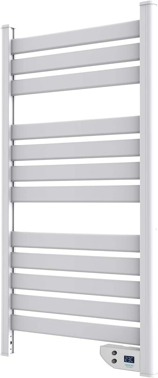 Cecotec Toallero de bajo Consumo Ready Warm 9000 Twin Towel White. Bajo Consumo, doble Función Radiador y Seca Toallas, Apto para Baño (IP24), Temporizador, Pantalla, Diseño Moderno, 450 W