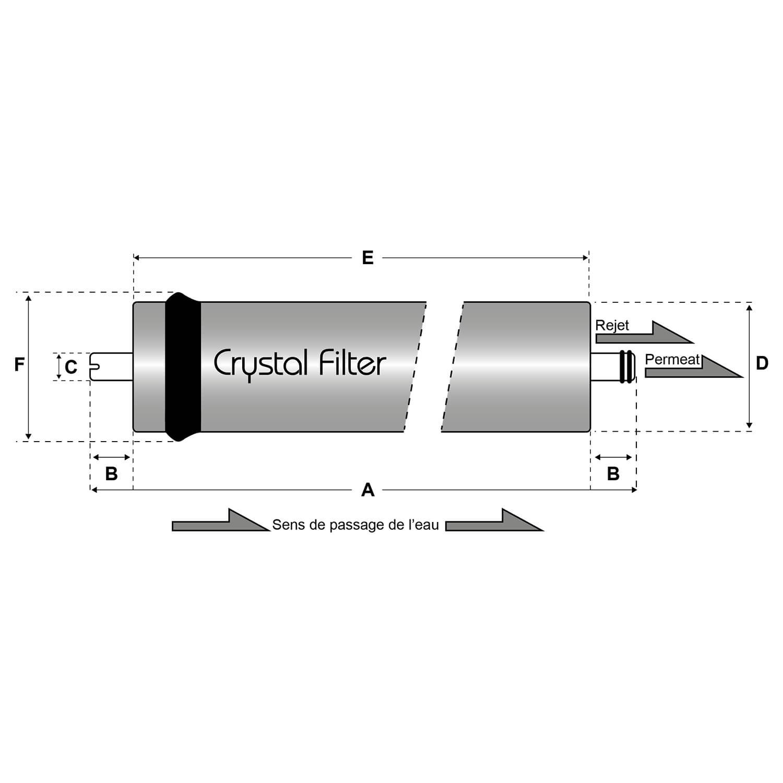 Crystal Filter/® Membrane dosmose 50 Gallons RO-1812-50