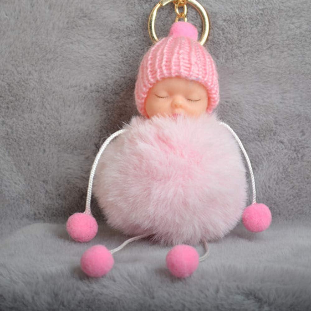 Anself Cute Little Sleeping Baby Foot Doll Fake Fur Fluffy Ball Keychain Car Keyring Women Key Holder BagCharm Jewelry Color Baby Pink