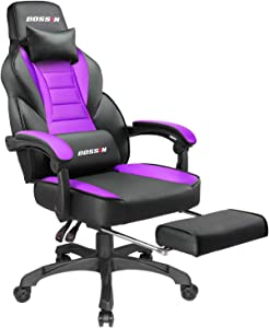 BOSSIN Racing Style Gaming Chair Office Computer Desk Chair with Footrest and Headrest, Ergonomic Design, Large Size High-Back E-Sports Chair, PU Leather Swivel Chair (Purple)