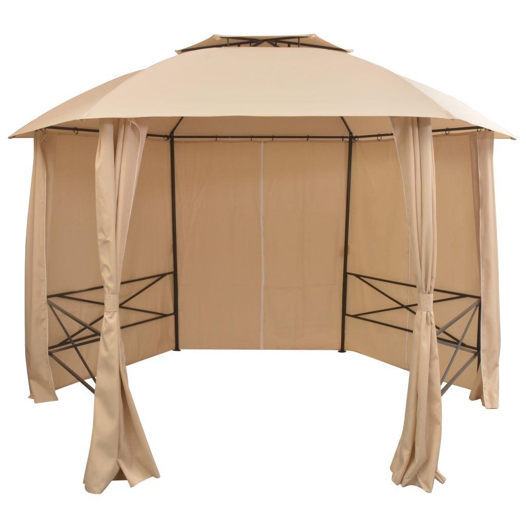 vidaXL Gazebo Padiglione da Giardino con Tende Esagonale 360x265 cm Parasole