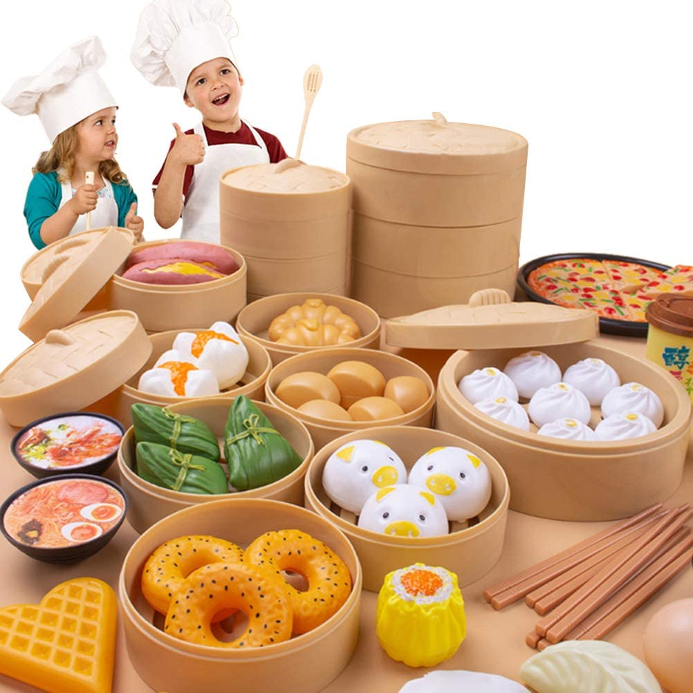 HEITIGN 84 Pcs Play Food Set Plastic Play Kitchen Set, Play Food Sets Chinese and West Food Playset Kids Pretend Play Toys Pretend Game Role Play Food Toy Sets for Toddlers