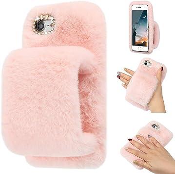 LLZ.COQUE Coque pour iPhone 5/5S/SE 2016 Jolie Fille Doux Fausse Fourrure Glitter Diamant Fourrure Fluffy Gant Silicone Housse de Téléphone pour ...