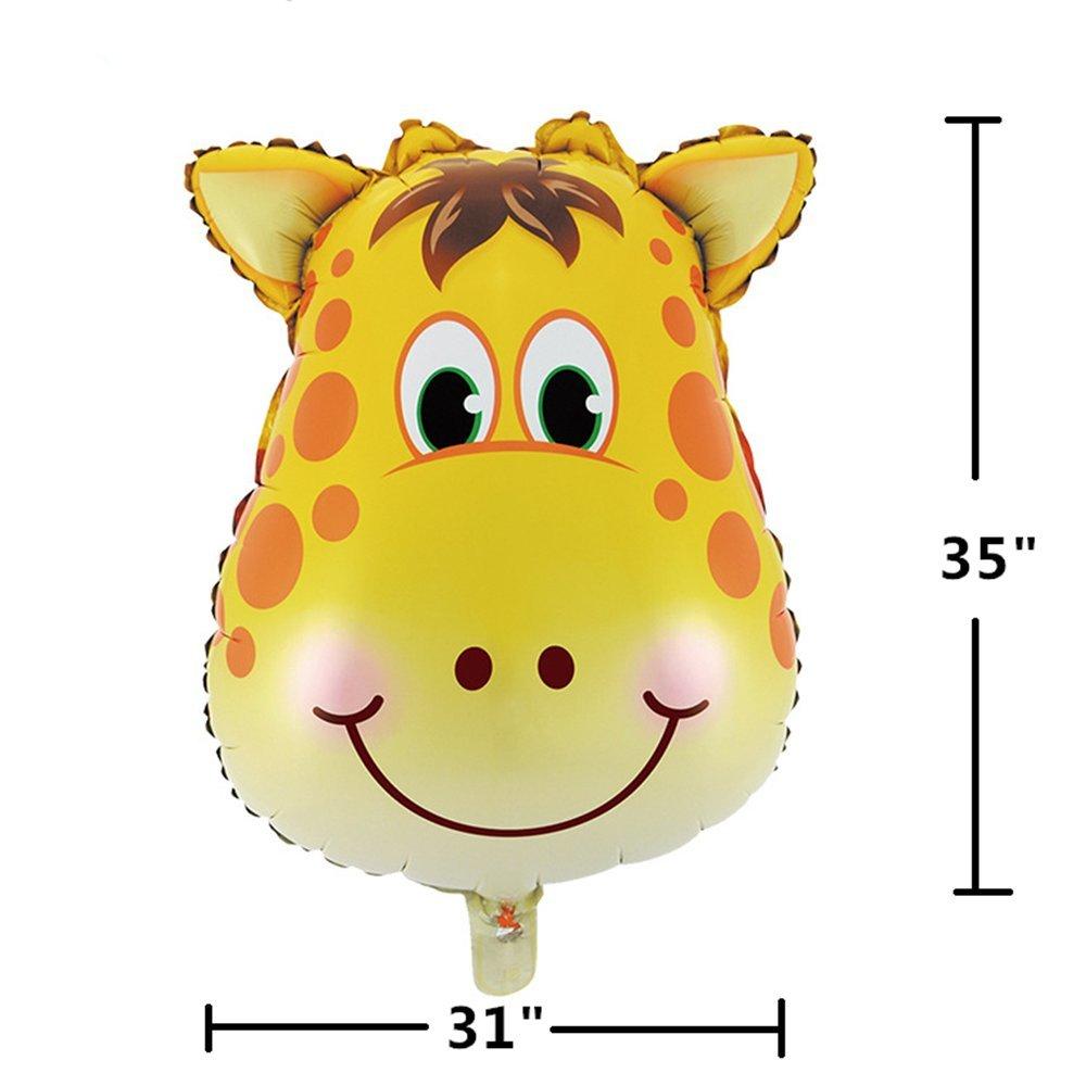 King /& Pig 6pcs 32 Super Big Jungle Animals Balloons Birthday Party Decorations Lion Tiger Monkey Zebra Giraffe Cow