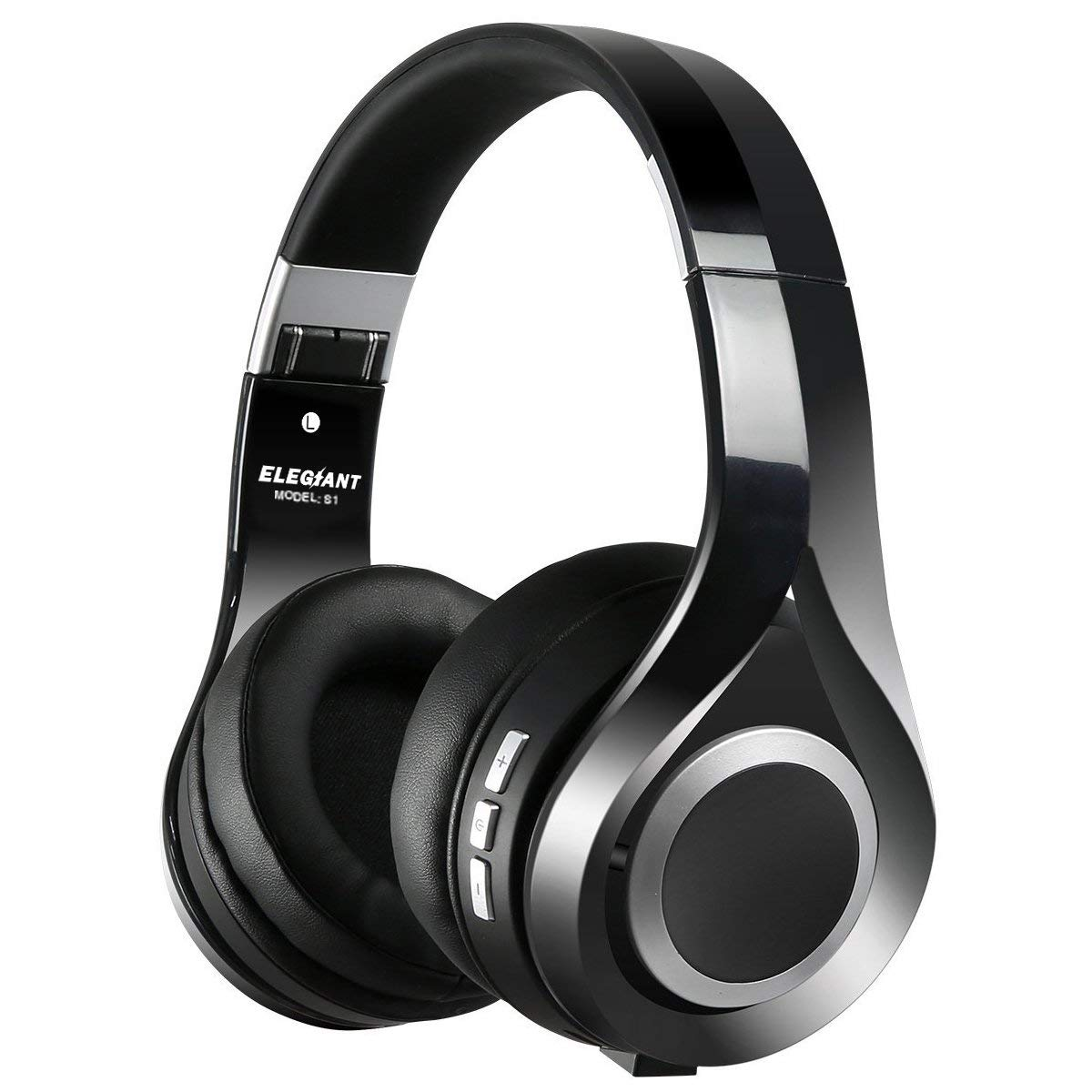 ELEGIANT Bluetooth Headphones Over Ear, Wireless Headphones HiFi Stereo Foldable Headset with Built-in Mic Wired and Wireless Modes Soft & Comfortable for PC Cellphone TV and More - Black